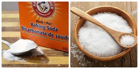 Muối và baking soda có tác dụng diệt trừ vi khuẩn và cao răng rất tốt.