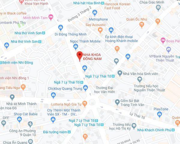 Đường đi tới nha khoa Đông Nam Lê Hồng Phong