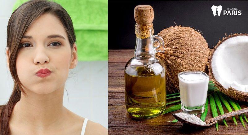 Súc miệng với dầu dừa nguyên chất làm trắng răng